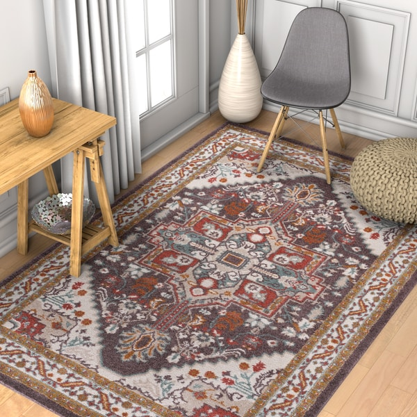 "Well Woven Abstract Medallion Brown/Off white Area Rug - 7'10"" x 10'6"""