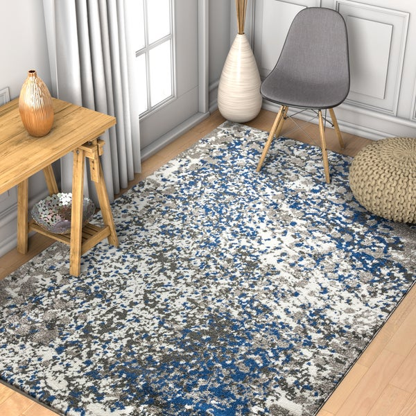"Well Woven Abstract Modern Blue/Grey Area Rug - 7'10"" x 10'6"""