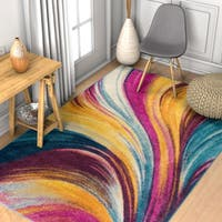 Well Woven Abstract Modern Multicolored Area Rug - 5'3x7'3