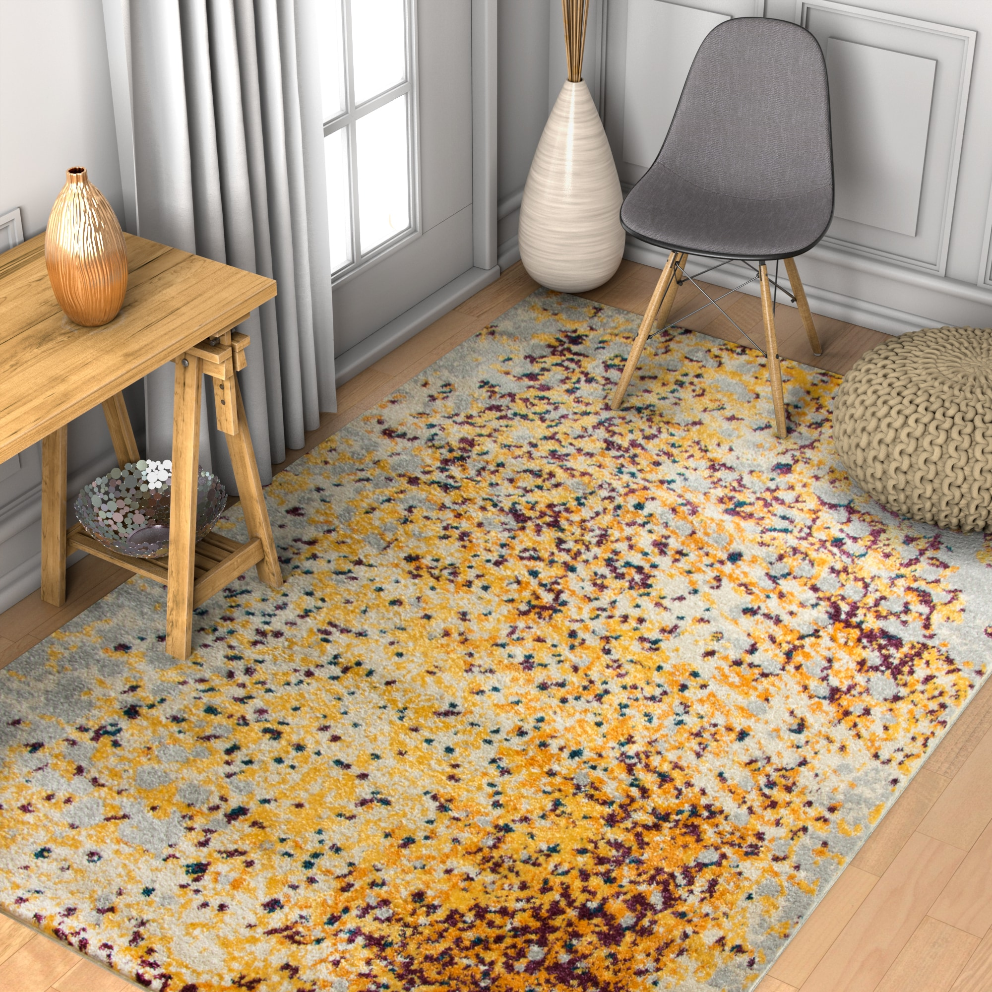 Picture of: Shop Well Woven Abstract Modern Yellow Area Rug 7 10 X 10 6 Overstock 17935532