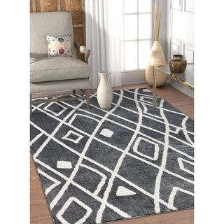 Well Woven Modern Black Artisan Vintage Soft Antimicrobial Stain-resistant Area Rug (7'10 x 9'10)