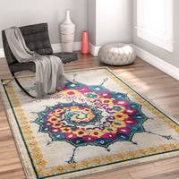Well Woven Bohemian Modern Abstract Antimicrobial Stain-resistant Area Rug - 5'3x7'3