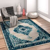 Well Woven Bohemian Modern Eclectic Blue Area Rug - 5'3x7'3