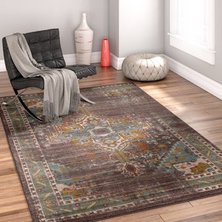 Well Woven Modern Blue Bohemian Vintage Tribal Farmhouse Antimicrobial Stain-resistant Area Rug (5'3x7'3)