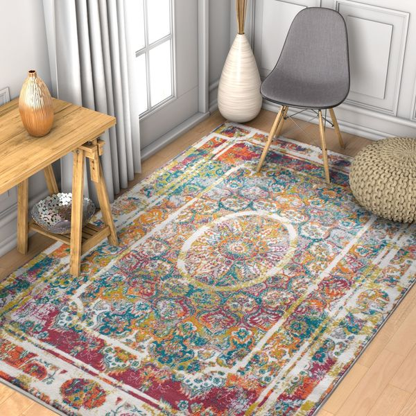 "Well Woven Boho Modern Medallion Multicolored Area Rug - 7'10"" x 10'6"""