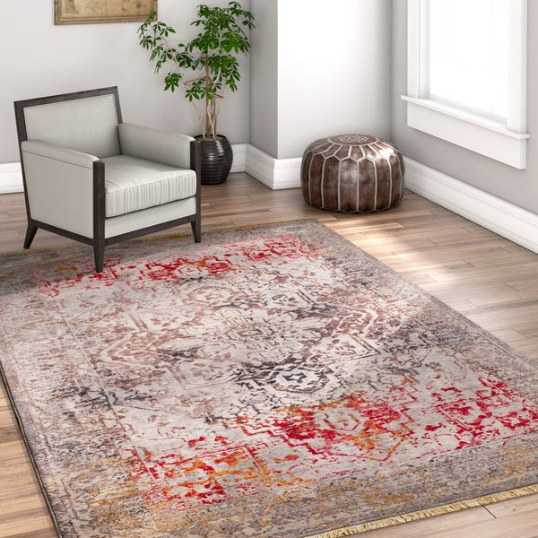 Well Woven Chic Luxury Boho Vintage Beige/Grey/Red Area Rug - 7'10 x 9'6