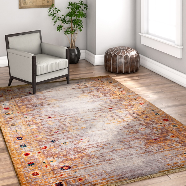 "Well Woven Chic Luxury Modern Boho Gold/Grey/Beige Area Rug - 7'10"" x 9'8"""