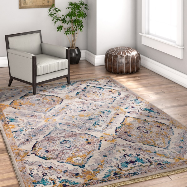 Well Woven Floral Beige Area Rug - 7'10 x 9'6