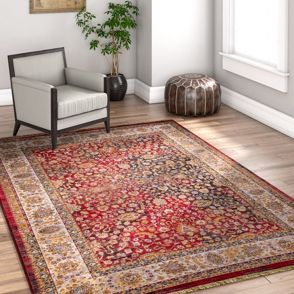 "Well Woven Chic Luxury Modern Red/Grey/Beige Area Rug - 7'10"" x 9'8"""