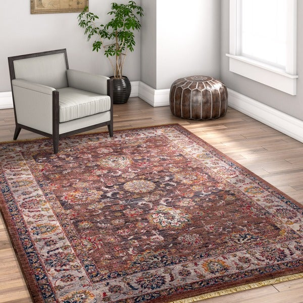 """Well Woven Chic Luxury Oriental Brown Area Rug - 7'10"""" x 9'8"""""""
