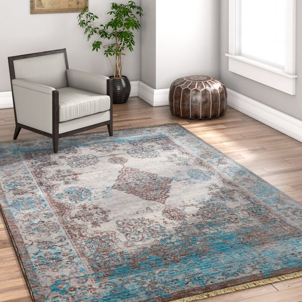 Well Woven Chic Luxury Vintage Antique Blue Area Rug - 7'10 x 9'6