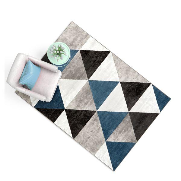 Well Woven Crystal Modern Geometric Blue and Black Area Rug - 7'10x9'10