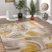 Well Woven Geometric Modern Grey/Gold Area Rug - 5' x 7'