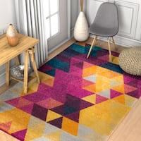 Well Woven Modern Geometric Multicolored Area Rug - 5'3 x 7'3