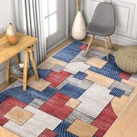 Well Woven Mid-century Modern Red/Blue/Yellow Colorblock Area Rug - 5' x 7'