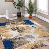 Well Woven Modern Blue/Multicolor Abstract Area Rug - 5' x 7'