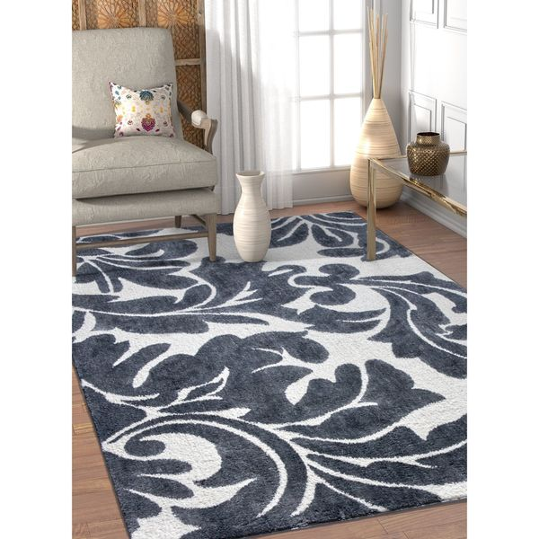 Well Woven Grey Abstract Damask Area Rug - 7'10 x 9'10