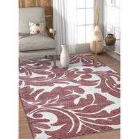 Well Woven Rose/Off-white Abstract Damask Area Rug - 7'10 x 9'10