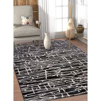 Well Woven Modern Abstract Lines Soft Black/Off White Area Rug - 5'3 x 7'3