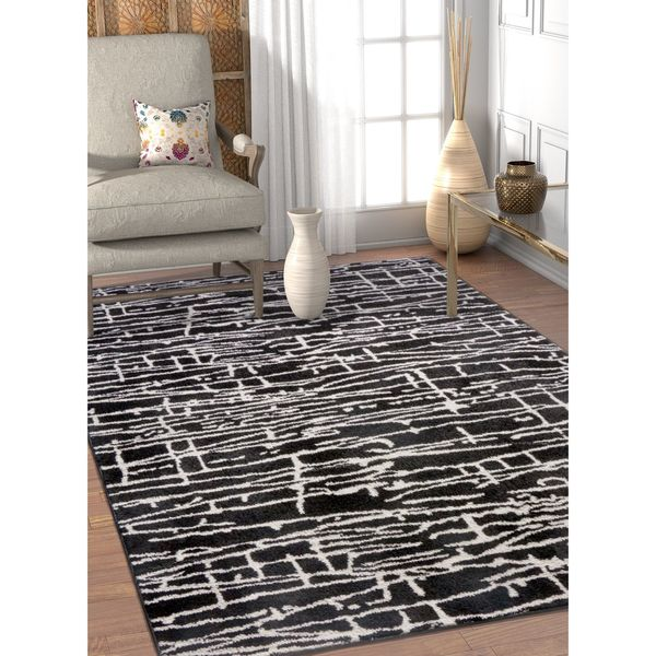 Well Woven Abstract Lines Black Soft Modern Area Rug - 7'10 x 9'10