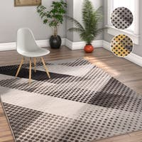 Well Woven Grey/Yellow Dots Modern Area Rug - 5' x 7'