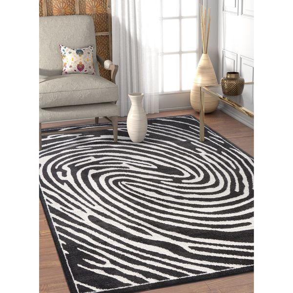 Well Woven Modern Black/White Swirl Area Rug - 7'10 x 9'10