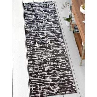 Well Woven Modern Abstract Soft Black Runner Rug (2'3 x 7'3)