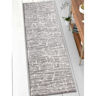 Well Woven Modern Abstract Soft Grey Runner Rug (2'3 x 7'3)