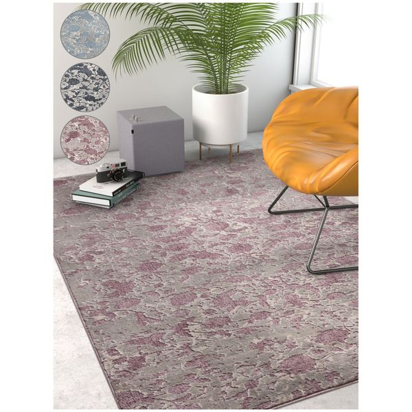 """Well Woven Modern Abstract Vintage Distressed Blue/Dark Grey/Lavender Soft Area Rug - 7'10"""" x 9'10"""""""