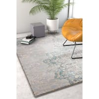 Well Woven Modern Distressed Blue Ivory Area Rug - 5'3 x 7'3