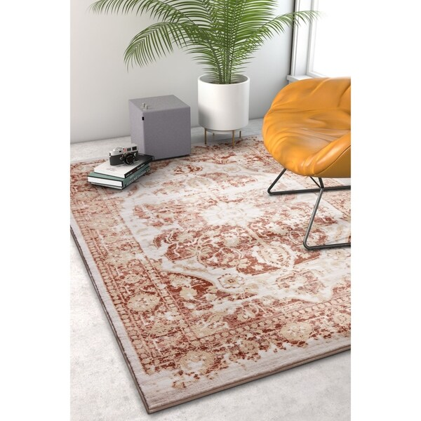 "Well Woven Modern Distressed Blue/Lavender/Copper Medallion Area Rug - 7'10"" x 10'6"""