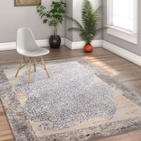 """Well Woven Modern Black Distressed Antimicrobial Stain-resistant Area Rug - 3'11"""" x 5'3"""""""