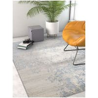 Well Woven Modern Distressed Soft Blue Area Rug - 7'10 x 9'10