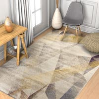 Well Woven Modern Beige Geometric Area Rug - 5'3 x 7'3