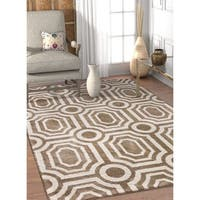 Well Woven Modern Geometric Soft Beige Brown Off White Area Rug - 5'3 x 7'3