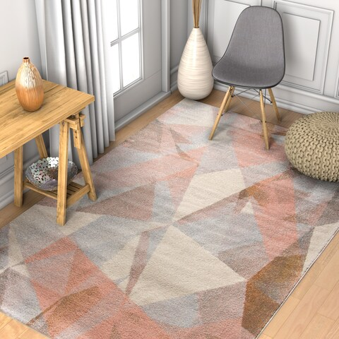 """Well Woven Modern Geometric Tranquil Pink/Grey/Off-white Area Rug - 5'3"""" x 7'3"""""""