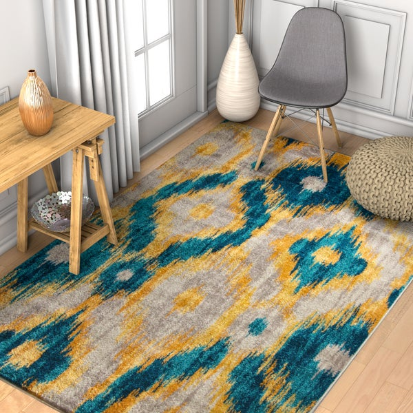 "Well Woven Modern Ikat Blue Area Rug - 7'10"" x 10'6"""