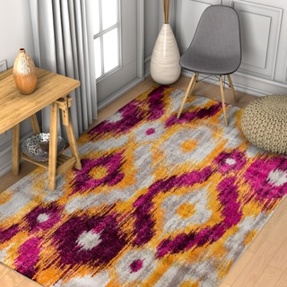 Well Woven Modern Ikat Lavender Area Rug (5'3x7'3)