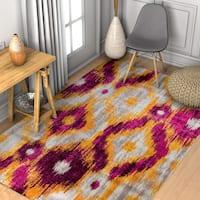 "Well Woven Modern Ikat Lavender/Multicolored Fiber/Jute Rectangular Indoor Area Rug - 7'10"" x 10'6"""