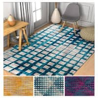 Well Woven Modern Plaid Area Rug - 5'3 x 7'3