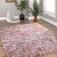 Well Woven Modern Plaid Stain-resistant Area Rug - 5'3 x 7'3