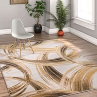 """Well Woven Modern Scrolls Antimocrobial Stain-resistant Area Rug - 3'11"""" x 5'3"""""""