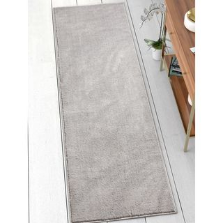 Well Woven Modern Solid Soft Light Grey Runner Rug (2'3 x 7'3)