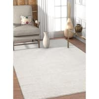Well Woven Modern White Solid Soft Stain-resistant Area Rug - 5'3 x 7'3