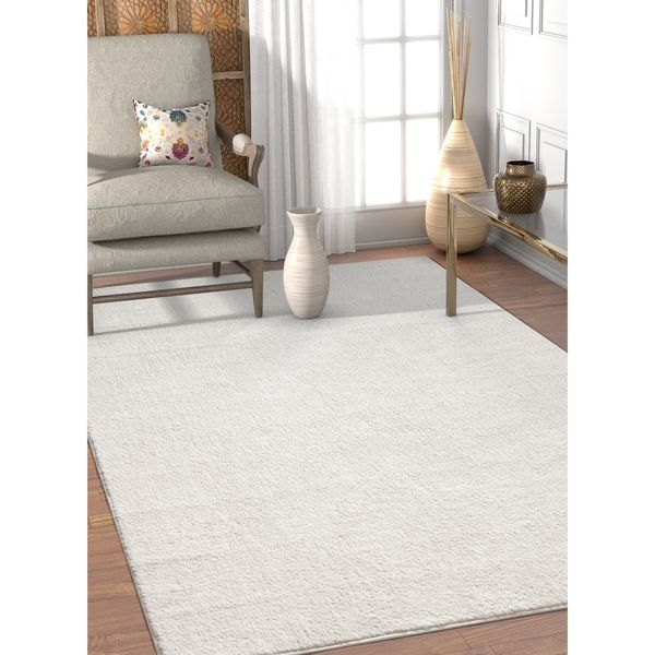 Great Well Woven Modern White Solid Soft Antimicrobial Stain Resistant Area Rug    5u0026#x27