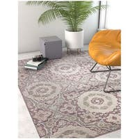 "Well Woven Modern Lavender Tile Work Soft Stain-resistant Area Rug - 5'3"" x 7'3"""
