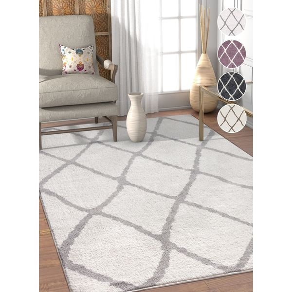 Well Woven Modern Trellis Soft Antimicrobial Stain-Resistant Area Rug - 7'10 x 9'10