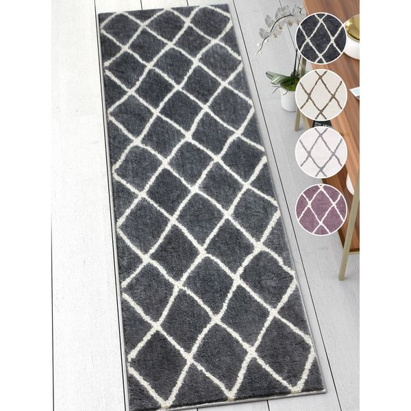 Well Woven Modern Trellis Soft Runner Rug (2'3 x 7'3)