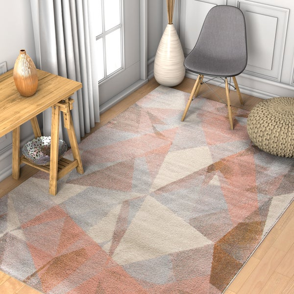 """Well Woven Prisma Triangle Modern Geometric Tranquil Pink Area Rug - 7'10"""" x 10'6"""""""