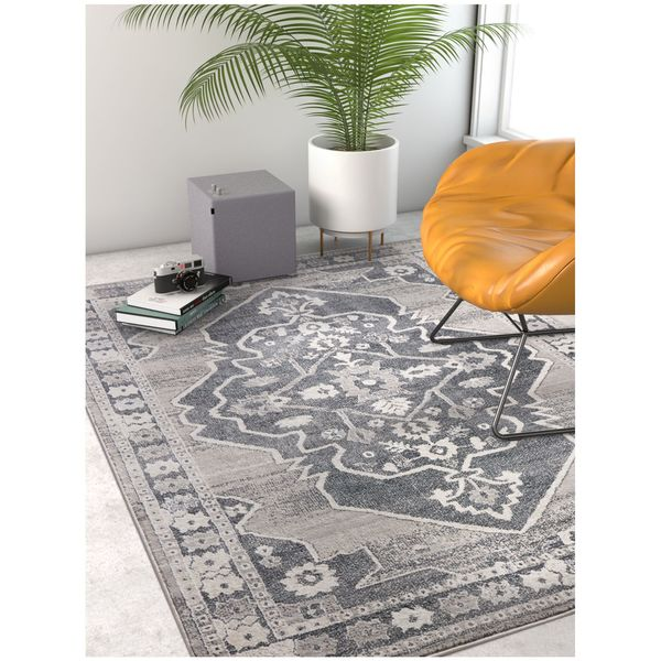Well Woven Traditional Medallion Vintage Soft Dark Grey Area Rug - 7'10 x 9'10
